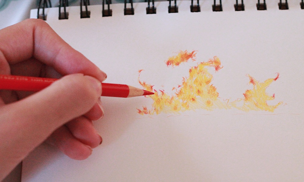 How to Color Fire With Colored Pencils